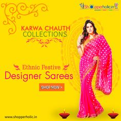 Karwa Chauth Collections: Shop Ethnic Festive Designer Sarees..  https://www.shopperholic.in/ #sarees #karwa_chauth #Offers #Discounts #latest_trends #shopping #online_shopping