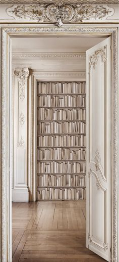 wallpaper that mimics shelves laden with books.