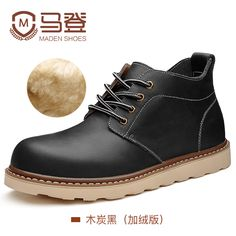 Maden Brand 2016 Winter Boots for Men High Top Boots Botas Genuine Leather Vintage Tooling Boots with Fur Sapato Masculino