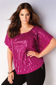 Addition Elle Holiday Lookbook 2012, Ashley Graham, sequins, plus size