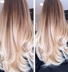 Dip dye long light blonde Hair