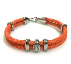 Orange Stingray Leather Bracelet In Silver -  S209 | Dual Cord Hand-wrapped Genuine Stingray Leather | Rare and Exotic looking | www.caerusgallery.com #caerusgallery #luxury #exotic #leather #bracelet #accessories