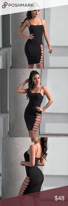 Black Ladder Cut-out Bodycon Dress Body-con dress Stretchy fabric Adjustable straps Ladder side cut-outs No closures 95% Polyester, 5% Spandex Model is wearing a small Pictures taken exclusively for Style Link Miami and are showing actual product All other sizes are sold out at the moment. Style Link Miami Dresses