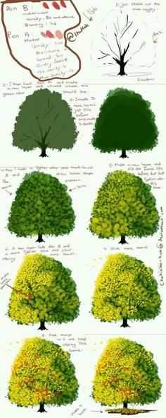 Digital painting tutorial - How to paint a tree Digital Painting Tutorials, Digital Art Tutorial, Painting Tools, Art Tutorials, Drawing Tutorials, Digital Paintings, Trees Drawing Tutorial, Acrylic Painting Tips, Tree Watercolor Painting