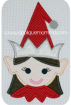Elf Girl Head Applique Design
