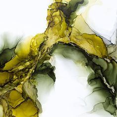 Olive and Green Abstract Alcohol Ink Painting by Kristy Swanson #abstractart