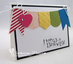 Stampin' Up Hearts a Flutter Birthday Card - I had a lot of fun with these great rainbow colors! http://catherinepooler.com/2013/02/clean-and-simple-stampin-up-hearts-a-flutter-rainbow-banner-card/
