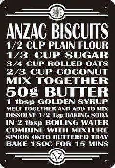 Anzac Biscuits, these were sent to the men at war, it stands for australia new zealand army core. What's the equivalent of golden syrup in the US? Anzac Biscuits, Biscuit Cookies, Biscuit Recipe, Australian Food, Anzac Day, Kiwiana, Australia Day, Golden Syrup, Lest We Forget
