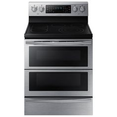 "Samsung 30"" 5.9 Cu. Ft. Self-Clean Freestanding 5-Element Smooth Top Electric Range- Stainless Steel"