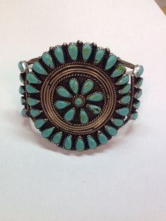 Bracelet manchette Vintage SunBurst Turquoise grand Amérindiens en argent Sterling Mens ou dames