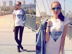 Camaloon Printed Shirt, Giant Vintage Mirrored Sunglasses, Vero Moda Velvet Leggings