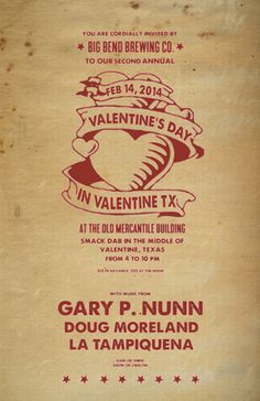 Valentine's Day in Valentine, TX - Early Bird Ticket Our Early Bird Tickets went on sales today!  http://www.bigbendbrewingstore.com/collections/frontpage/products/vday-early-bird