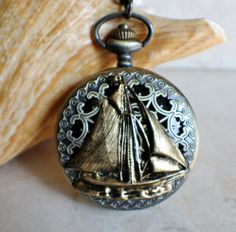 Nautical pocket watch, men's pocket watch, nautical theme, front case is mounted with sail boat.