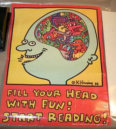 """Keith Haring Original Vintage Library Issue """"Read"""" Art Poster 1988"""