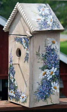 Hand Painted Bird House with shelf - SOLD - Bird houses - Bird Supplies Bird Houses Painted, Painted Birdhouses, Decorative Bird Houses, Painted Cottage, Painted Birds, Bird House Kits, Bird House Plans, Diy Bird Feeder, Bird Boxes