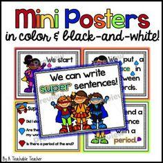 WRITING SUPER SENTENCES MINI-UNIT {CAPITALS, SPACES, PERIODS} - TeachersPayTeachers.com