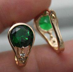 Picture 2 of 2 Flower Earrings, Dangle Earrings, Water Drops, White Topaz, Peridot, Emerald, Studs, Dangles, Gemstone Rings