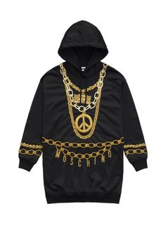 H&M x Moschino Hooded Dress Moschino, Jeremy Scott, H&m Collaboration, Black Gold Chain, Hooded Dress, Hoodies, Sweatshirts, Who What Wear, Affordable Fashion