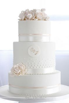 Ivory peach roses wedding cake. Pretty. Maybe not so heavy on the flowers.