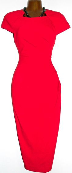 Gorgeous L.K.BENNETT Red Marina Stretch Ruched Wiggle Pencil Dress UK 8 US 4