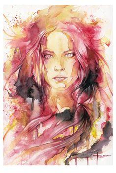 I-AM by mekhz.deviantart.com on @deviantART---technique,  traits aquarelle, visage centré, couleurs