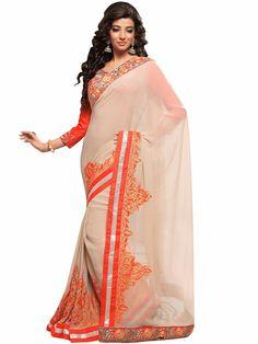 Wonderful Beige Georgette Party Wear Sari