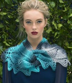 Free Knitting Pattern for Frosted Leaves Cowl - Shoulder cozy knit with leaf lace. Knit flat and seamed. Aran weight yarn. Designed by Louisa Harding for Knitting Fever.
