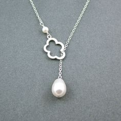 Silver Cloud Lariat, Sterling Silver Chain, Swarovski Pearl, Cloud Necklace, White Teardrop Pearl. $26.50, via Etsy.