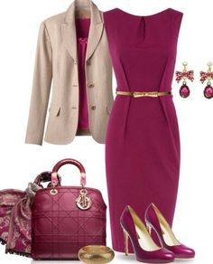 I love this chic outfit! The color is glam. Purple pink dress with thin belt. Beige suit jacket and lovely shows. Love this outfit color.