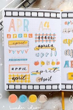 If you need help starting out your spreads and layouts for the month, then check out these super cute bullet journal april headers for inspriation! Bullet Journal School, April Bullet Journal, Bullet Journal Headers, Bullet Journal Lettering Ideas, Bullet Journal Banner, Journal Fonts, Bullet Journal Notebook, Bullet Journal Ideas Pages, Bullet Journal Layout