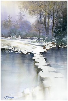 frozen pond by Thomas W. Schaller Watercolor ~ 24 inches x 18 inches