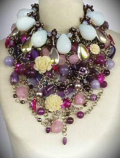 Collar de piedras, perlas y cristales. CLOVIS  www.clovisdesignjoyas.com