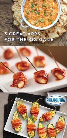 Looking to add creamy appetizers to your party playbook? Try one of these recipes for the big game. Buffalo Chicken Dip, Bacon-Wrapped Buffalo Chicken Bites or Bacon-Wrapped Jalapeño Peppers. All made with delicious PHILADELPHIA Cream Cheese.