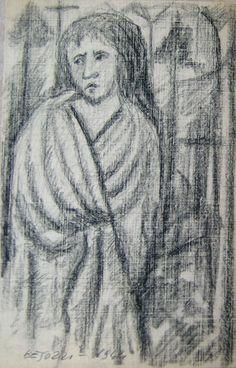 Ermanno Besozzi pittore 1944 Figura pennarello su carta cm. 18,8x10,5 arc. 1110