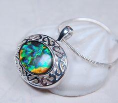 Ammolite Jewelry Pendant.14x10mm RARE Leopardskin pattern. - Ammolite Jewelry From Canada