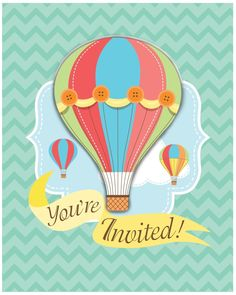 (48/case) Up, Up, & Away Invitation with Attachment