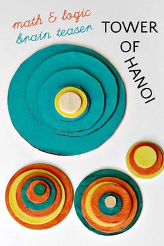 The Tower of Hanoi: Math Logic Puzzle for Kids easy to make from felt and a video of how to do