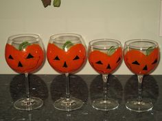 Painted Pumpkin Wine Glasses