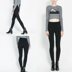 NWT ZARA HIGH-WAIST LEGGINGS BLACK SIZE XS SOLD OUT STYLE #ZARA #CasualPants