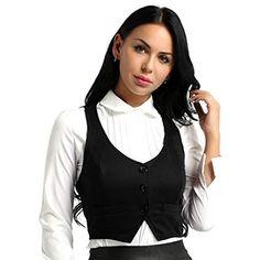 a12f013a67e73d FEESHOW Damen Weste Anzugweste in rot schwarz kombinierbar mit weißem Hemd  Bluse ärmellose Jacke Business Westen