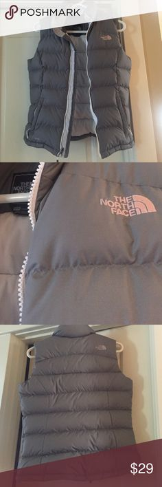 Grey North Face Vest Cute Grey Northface Vest! Comfy and warm. Size XS but could definitely fit a regular Small! North Face Jackets & Coats Vests
