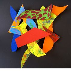 frank stella inspired graffiti relief with cardboard