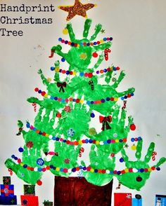 There's Magic out there: Christmas Tree Handprints & Lights