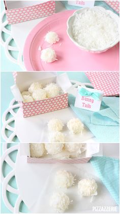 "Easter Bunny Tail Truffles 1 8-oz. pkg cream cheese, softened; 4-5 c. icing sugar; 1 tsp. almond extract (or coconut flavor); 2-3 c. sweetened coconut. If cream cheese not soft microwave for 10-15 seconds. Use an electric mixer with paddle attachment to beat cream cheese til fluffy. Add icing sugar 1 c. at time til mix is thick dough. If dough is able to hold shape in 1"" ball all good! Too sticky, add more icing sugar. Roll balls in coconut. If doesn't stick, press it in bit or use corn syrup."