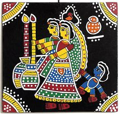 The earliest Indian paintings were the rock paintings of pre-historic times, the petroglyphs as found in places like Bhim. Mural Painting, Mural Art, Fabric Painting, Indian Traditional Paintings, Indian Art Paintings, Traditional Art, Madhubani Art, Madhubani Painting, Kunst Der Aborigines