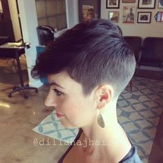 Baby got a new cut... Happy hubby! Scissor cut the top sides and crown, clippers in the bale. #hair #haircut #hairstyle #shorthaircut #shorthairstyle #shorthair #chickfade #taper #pixie #pixiehaircut #pixiehairstyle #thisismyart #thestandardhairstudio #imakehotgirlshotter