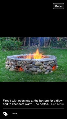 Love this Fire pit - opening at bottom for airflow and to keep feet warm