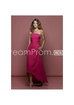 A-Line Strapless Cocktail Chiffion Prom Dress