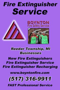 Fire Extinguisher Service Reeder Township, MI (517) 316-9911Local Michigan Businesses Discover the Complete Fire Protection Source.  We're Boynton Fire Safety Service.. Call us today!