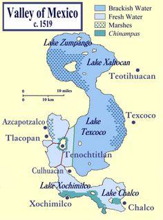 Lago de Texcoco mapa antigüo.